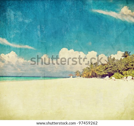 vintage photo beach. Maldives - stock photo