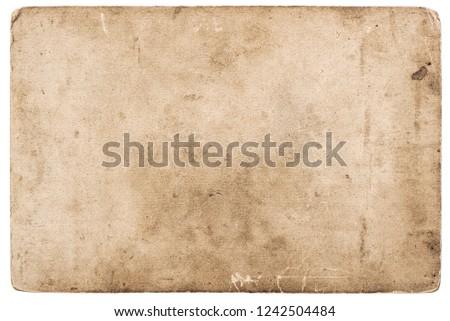 Vintage photo card isolated on white. Used grunge paper background #1242504484