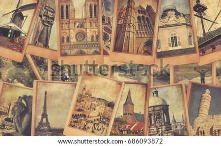 Vintage photo cards collage on the old wood background. European, Middle East and Canada travel. World tourism concept. Warm toned colors. Retro style image with copy space.
