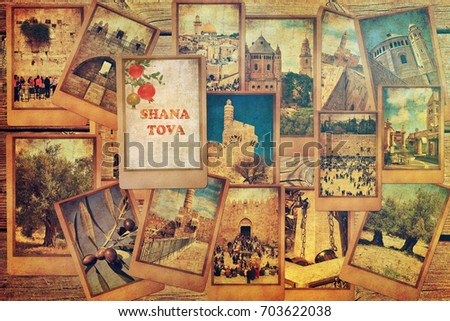 Vintage photo cards on the old wood background. Remembering Jerusalem. Special greetings with pomegranate fruit and words Shana Tova - Happy New Year  in Hebrew. Israel tourism and travel concept