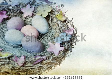 Vintage photo Easter eggs in bird nest