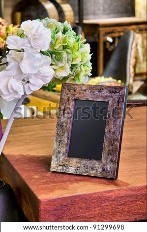 vintage photo frame on the table