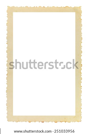 Vintage photo frame with figured edges, on white background  #251033956