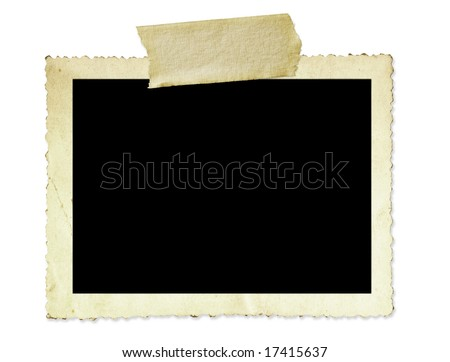 Vintage photo frame, with scalloped edge and masking tape, isolated on white.
