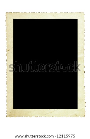 Vintage photo frame, with scalloped edge, isolated on white. - stock photo