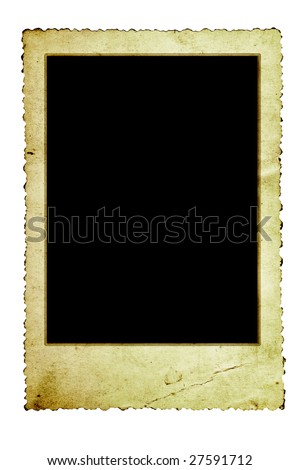 Vintage photo frame with scalloped edge, isolated on white.