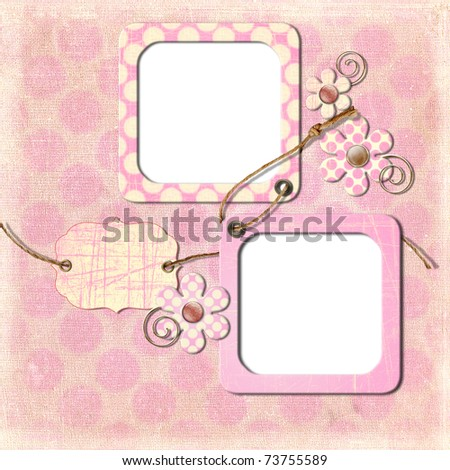 Vintage photo frames and flowers on an old, cracked background - stock photo