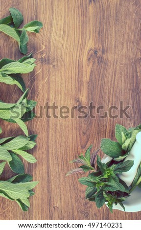 Vintage photo, Fresh natural green mint with white mortar on rustic board, healthy lifestyle and nutrition, copy space for text or inscription