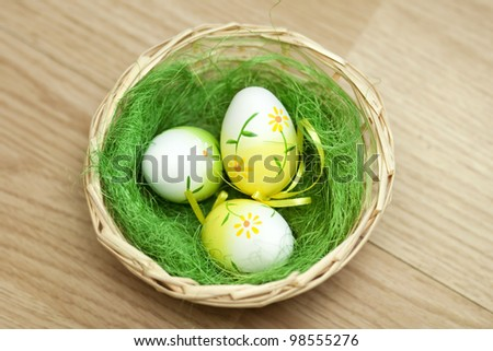 Vintage photo of a basket with easter eggs