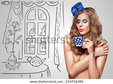 Vintage photo of a beautiful nude girl in a retro hat drinking tea at a mad tea party on sketchy background. #256936486