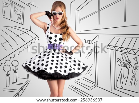 Vintage photo of a beautiful pin-up girl wearing a retro polka-dot dress and sunglasses on sketchy background of a shopping street. #256936537