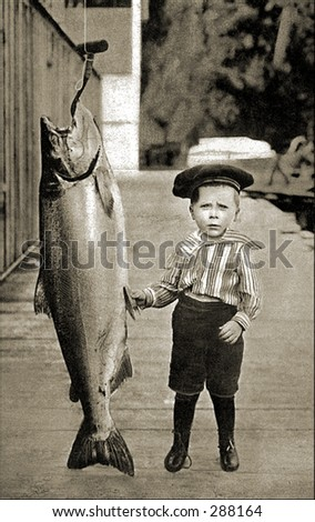 Vintage photo of a Boy Posing Next To Really Big Fish