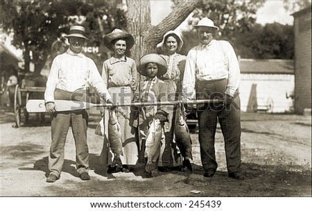 Vintage Photo of a Family Posing With Catch Of The Day|