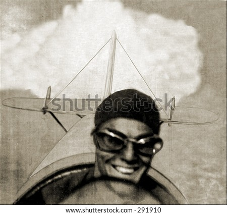 Vintage photo of a Grinning Pilot in Flight