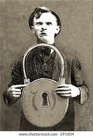 Vintage photo of a Man Holding Gigantic Padlock