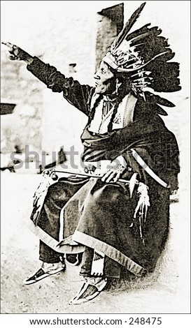 Vintage Photo of a Native American In Traditional Clothing