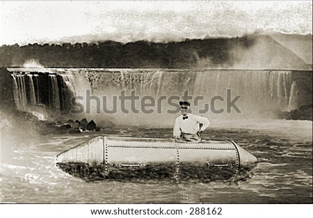 Vintage photo of a Niagara Falls Daredevil - stock photo