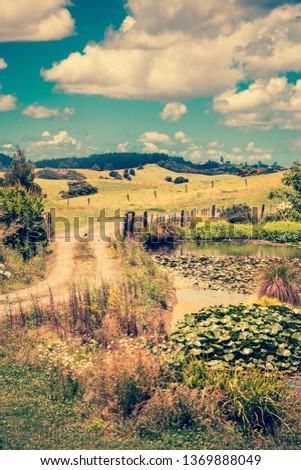 Vintage photo of a pastoral rural landscape with gravel road winding past lily pond towards lush green rolling hills.