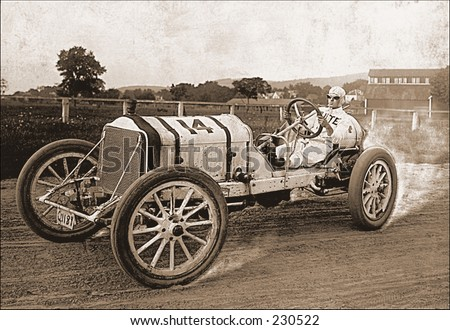 Vintage photo of a race car on the track