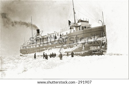 Vintage photo of a Steam Ship Trapped In Ice