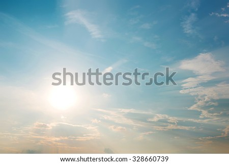 Vintage photo of abstract nature background with sky in sunset #328660739