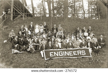 Vintage Photo of an Engineers Class Portrait