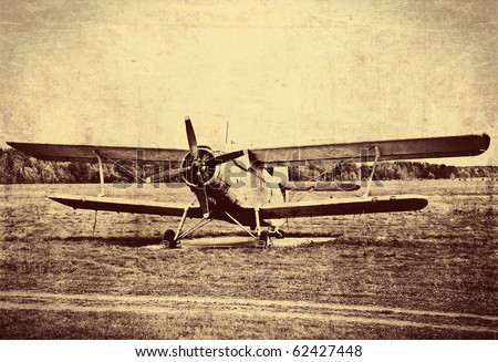 Vintage photo of an old biplane