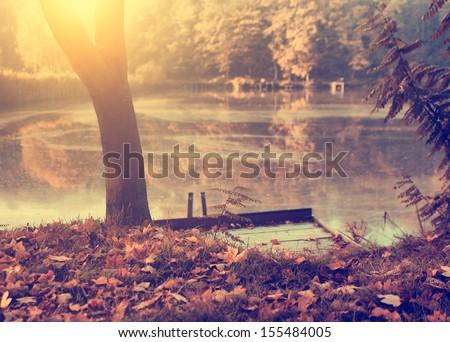 Vintage photo of autumn scene
