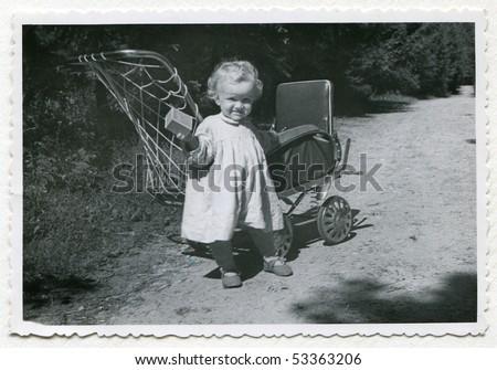 Vintage photo of baby girl (1955)