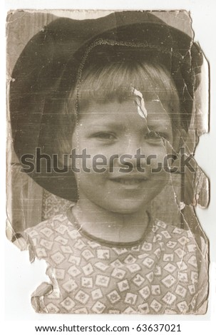 Vintage photo of beautiful young girl(Russia, beginning of 20th century)