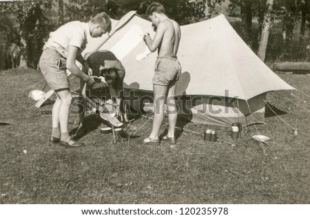 Vintage photo of boys camping (sixties)