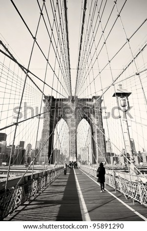 Vintage photo of Brooklyn Bridge in New York, USA