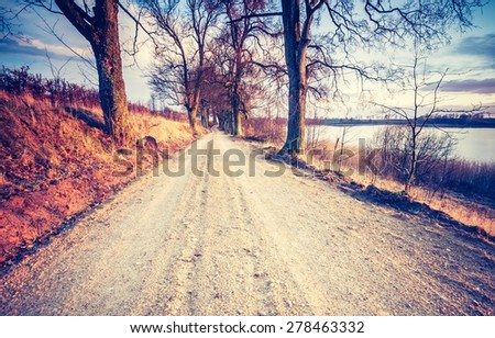 Vintage photo of calm countryside with rural sandy road. Agricultural landscape with old fashioned colors