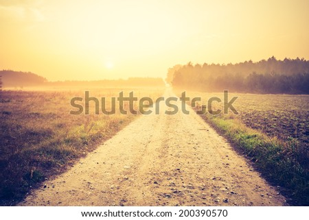 vintage photo of country road