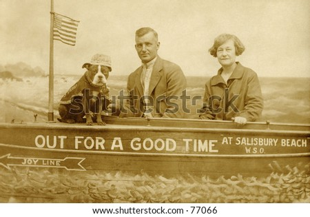 Vintage photo of couple posing for souvenir photo
