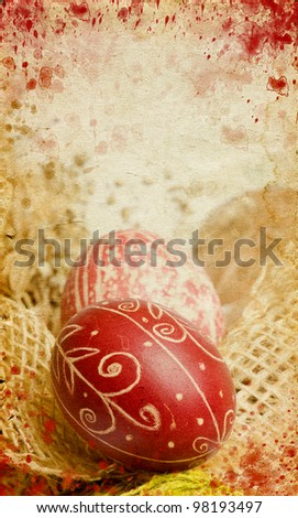 Vintage photo of  easter eggs