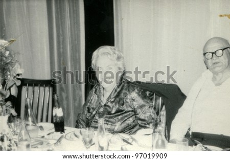 Vintage photo of elderly couple (seventies)