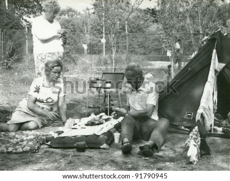 vintage photo of family camping ...