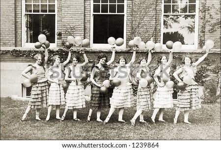 Vintage photo of female cheerleaders