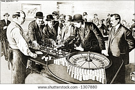 Vintage photo of Gamblers At Roulette Wheel