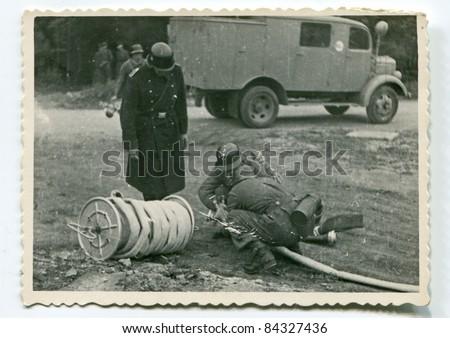 Vintage photo of German firemen during WW2 (forties)
