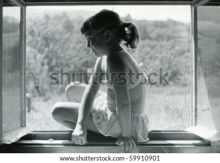 Vintage photo of girl (circa 1960)