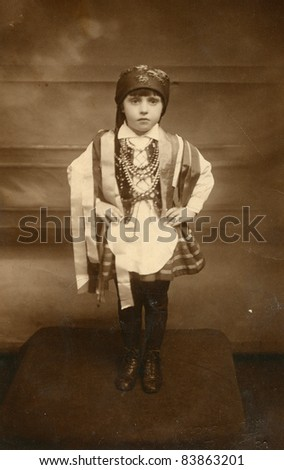 Vintage photo of little girl in traditional Polish attire (twenties)