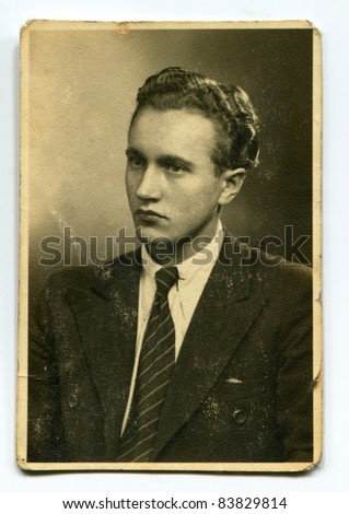 Vintage photo of man (forties)