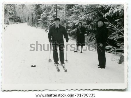 Vintage photo of man skiing (fifties)