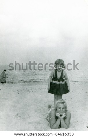 vintage photo of mother and...