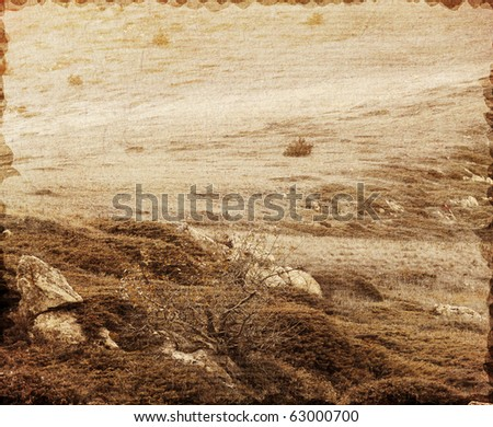Vintage photo of mountain landscape