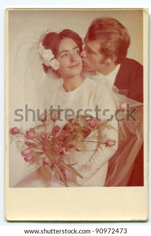Vintage photo of newlyweds (early seventies)