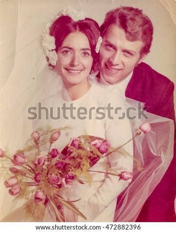 Vintage photo of newlyweds, 1970's