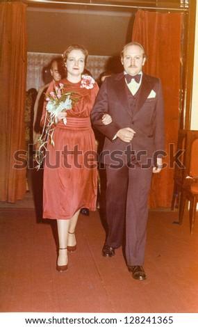 Vintage photo of newlyweds (seventies)